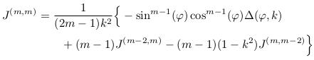 \begin{align*}  J^{(m,m)} &= \inverse{(2m-1)k^{2}}\Big\{-\sin^{m-1}(\varphi)\cos^{m-1}(\varphi)\Delta(\varphi,k)\\ &\qquad + (m-1)J^{(m-2,m)} - (m-1)(1-k^{2})J^{(m,m-2)}\Big\}\\ \end{align*}