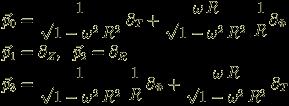 <br /> \begin{eqnarray}<br /> && \vec{p}_0 = \frac{1}{\sqrt{1-\omega^2 \, R^2}} \, \partial_T + \frac{\omega \, R}{\sqrt{1-\omega^2 \, R^2}} \; \frac{1}{R} \partial_\Phi \nonumber \\<br /> && \vec{p}_1 = \partial_Z, \; \; \vec{p}_2 = \partial_R \nonumber \\<br /> && \vec{p}_3 = \frac{1}{\sqrt{1-\omega^2 \, R^2}} \; \frac{1}{R} \, \partial_\Phi +  \frac{\omega \, R}{\sqrt{1-\omega^2 \, R^2}} \, \partial_T \nonumber <br /> \end{eqnarray}