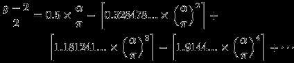 \frac{g-2}{2} = 0.5\times\frac{\alpha}{\pi} - (0.328478...\times\frac{\alpha}{\pi}^2) + (1.181241...\times\frac{\alpha}{\pi}^3) - (1.9144...\times\frac{\alpha}{\pi}^4) + \cdotsa