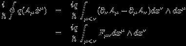 \begin{eqnarray*} \frac{i}{\hbar}\oint q(A_\mu \dot{x}^\mu) &=& \frac{iq}{\hbar} \int_{\mu < \nu} (\partial_\nu A_\mu - \partial_\mu A_\nu) dx^\nu \wedge dx^\mu \\ &=& \frac{iq}{\hbar} \int_{\mu < \nu} F_{\mu\nu} dx^\mu \wedge dx^\nu \end{eqnarray*}