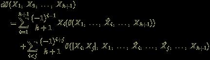 <br /> \begin{eqnarray*}<br /> & & d\theta(X_1, \; X_2, \;\ldots ,\; X_{k+1}) \\<br /> & & \hspace{5mm} = \sum_{i=1}^{k+1}\frac{(-1)^{i-1}}{k+1}X_i(\theta(X_1, \;\ldots ,\; \hat{X_i}, \;\ldots, \;X_{k+1})) \\<br /> & & \hspace{10mm} + \sum_{i < j}\frac{(-1)^{i+j}}{k+1}\theta([X_i, X_j], \; X_1, \;\ldots ,\;\hat{X_i}, \;\ldots ,\;\hat{X_j}, \;\ldots ,\; X_{k+1}) <br /> \end{eqnarray*}<br />