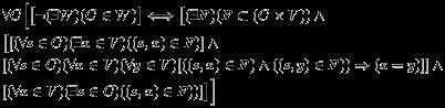 \begin{eqnarray*}  &&\forall{C} \Big[\big[\neg(\exists{W}){(C\in{W})}\big] \Longleftrightarrow \big[(\exists{F})(F\subset(C\times{V}))\wedge\\ &&\big[[(\forall{s\in{C}})(\exists{x\in{V}})((s,x)\in{F})]\wedge\\ &&[(\forall{s\in{C}})(\forall{x\in{V}})(\forall{y\in{V}})[((s,x)\in{F})\wedge((s,y)\in{F}))\Rightarrow(x = y)]]\wedge\\ &&[(\forall{x\in{V}})(\exists{s}\in{C})((s,x)\in{F}))]\big]\Big] \end{eqnarray*}