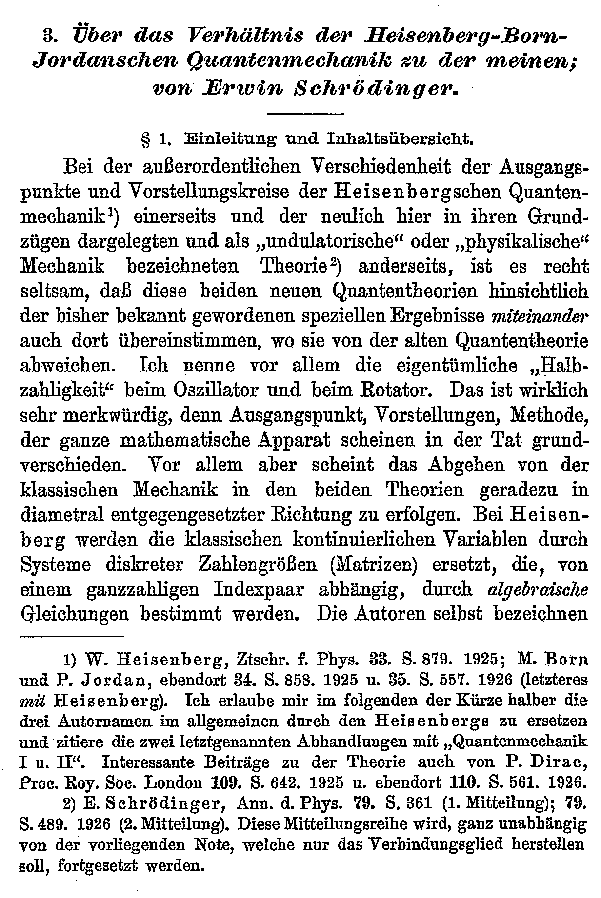 Über das Verhältnis der Heisenberg-Born-Jordanschen Quantenmechanik zu der meinen