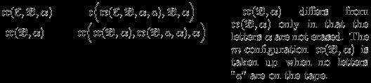 "\begin{tabular}{lll} $\mathfrak{cr}(\mathfrak{C},\mathfrak{B},\alpha)\quad$ & $\quad\mathfrak{c}\Big(\mathfrak{re}(\mathfrak{C},\mathfrak{B},\alpha,a),\mathfrak{B},\alpha\Big)\qquad$  &\multirow{2}{2cm}{\rightcolumnnote{43mm}{\vspace{1mm}\quad$\mathfrak{cr}(\mathfrak{B},\alpha)$ differs from $\mathfrak{ce}(\mathfrak{B},\alpha)$ only in that the letters $\alpha$ are not erased.  The $m$-configuration $\mathfrak{cr}(\mathfrak{B},\alpha)$ is taken up when no letters ""$a$"" are on the tape.}}\\ $\ \mathfrak{cr}(\mathfrak{B},\alpha)$ & $\mathfrak{cr}\Big(\mathfrak{cr}(\mathfrak{B},\alpha), \mathfrak{re}(\mathfrak{B},a,\alpha),\alpha\Big)$ & \end{tabular}"