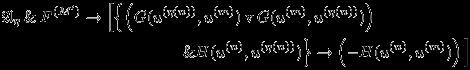 \begin{eqnarray*}   &&\mathfrak{A}_{\eta} \mathand F^{(M^{\prime})} \rightarrow \Big[\Big\{\Big(G(u^{(\eta(n))},u^{(m)}) \mathbin{\mathrm{v}} G(u^{(m)}, u^{(\eta(n))})\Big)\hspace{20mm}\\  &&\hspace{40mm} \mathand H(u^{(n)},u^{(\eta(n))}) \Big\} \rightarrow \left(-H(u^{(n)},u^{(m)})\right) \Big]  \end{eqnarray*}